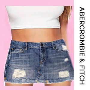 ABERCROMBIE Distressed Mini Denim Skirt 6